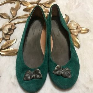 ANTHRO Pilcro And The Letterpress Green Flats 7.5